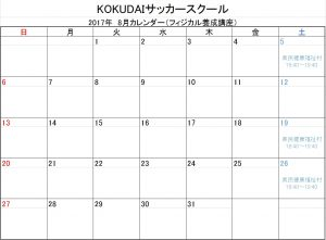 2017.8月フィジカルスケジュール